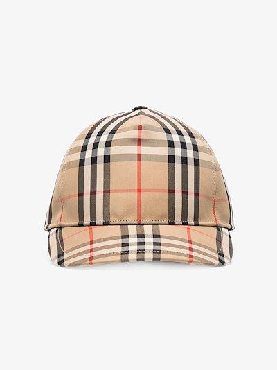 beige vintage check baseball cap