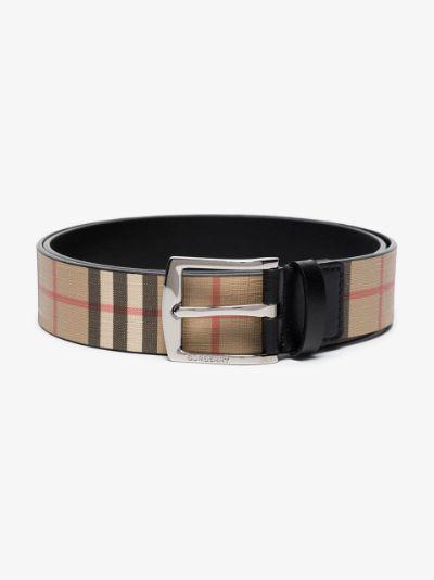 beige Vintage check belt
