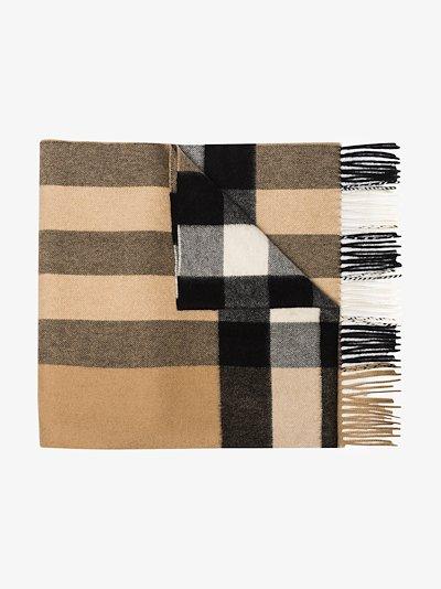 beige Vintage check cashmere scarf