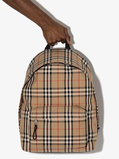 Beige Vintage check print cotton backpack