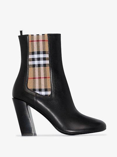 black Alderman 90 Vintage check leather boots