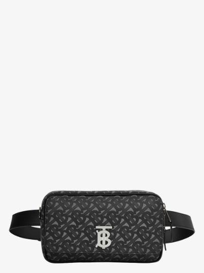 black and grey Teddy Monogram print cross body bag