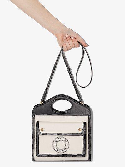 black and white mini logo pocket bag