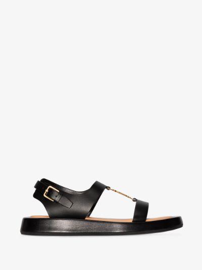 black Buckingham leather sandals