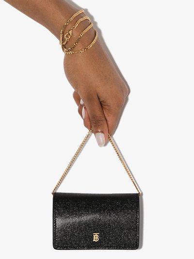 black Jessie mini leather chain wallet