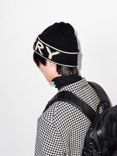 black logo intarsia cashmere beanie hat