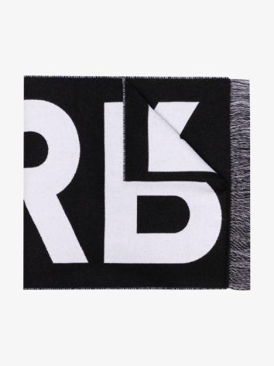 black logo jacquard wool scarf