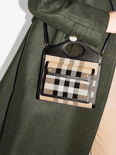 black mini Vintage check tote bag