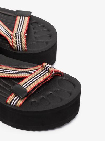 black Patterson Icon stripe flatform sandals