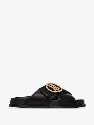 Black Wallsall flat leather sandals