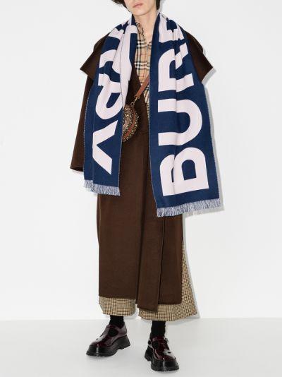 blue logo wool scarf