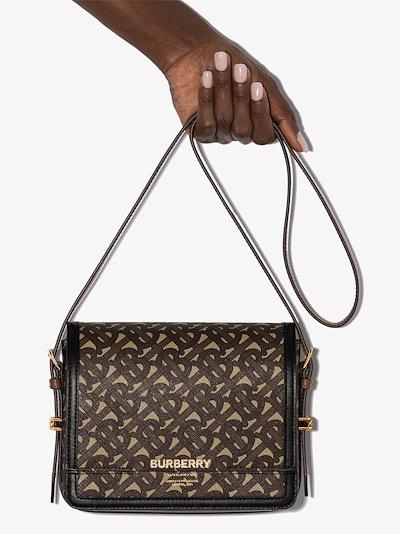 brown Grace Monogram print leather cross body bag