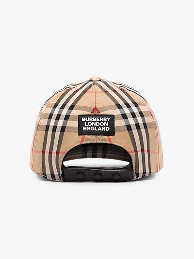 brown logo appliqué Vintage check baseball cap