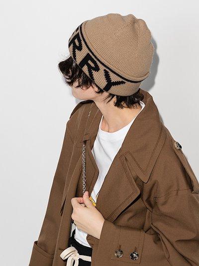 brown logo intarsia cashmere beanie hat