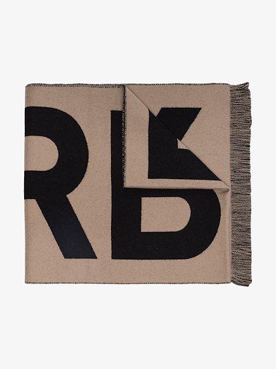 brown logo intarsia wool scarf