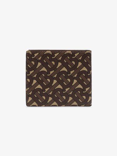 brown monogram print bifold wallet