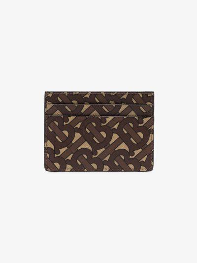 brown monogram print card holder