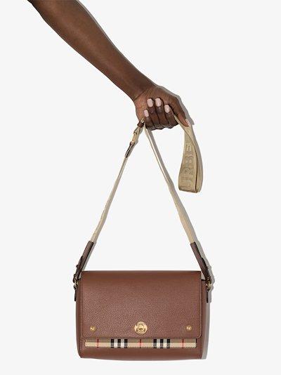 brown Note medium leather cross body bag