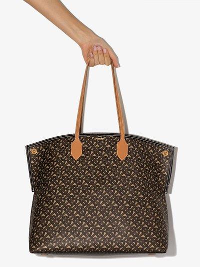 brown Society monogram print tote bag