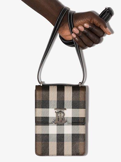 brown TB House check leather messenger bag