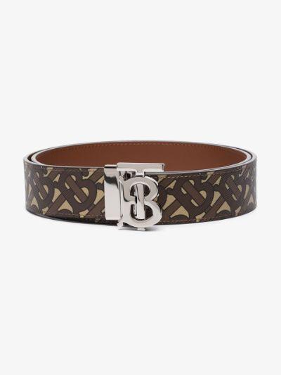 brown TB Monogram reversible belt