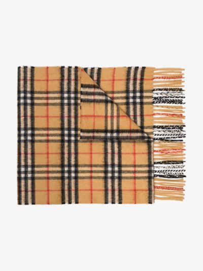 Brown Vintage Check Cashmere Scarf