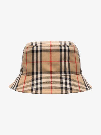 brown Vintage check cotton bucket hat
