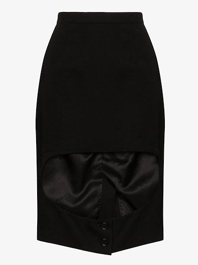 buttoned cutout pencil skirt