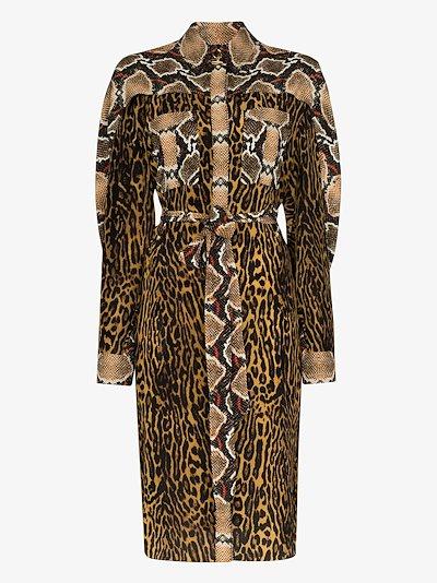 Constanza animal print silk shirt dress