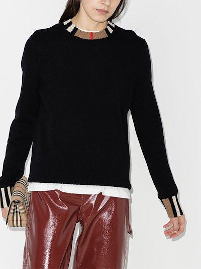Eyre Icon stripe trim cashmere sweater