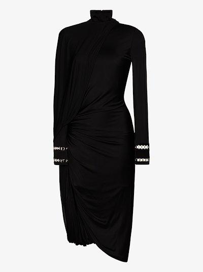 High Neck Draped Midi Dress