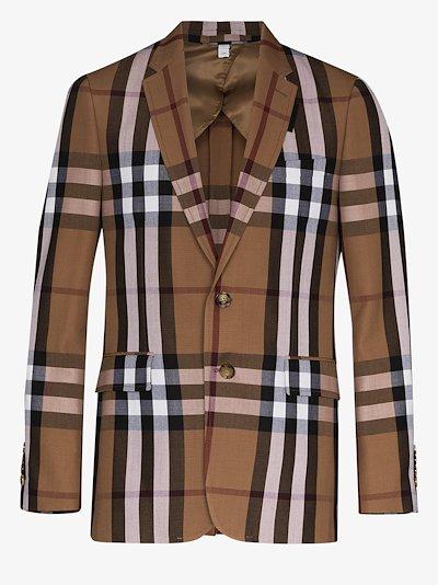 House check wool blazer