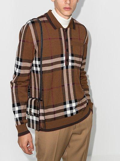 House check wool polo shirt