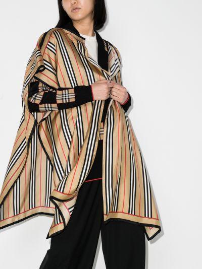 Icon stripe silk cape