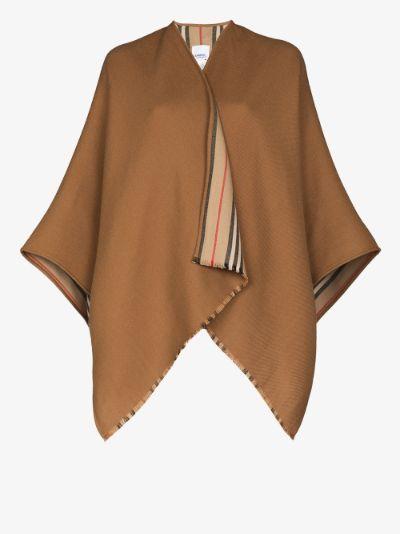 Icon stripe wool cape