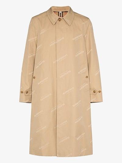 jacquard logo trench coat