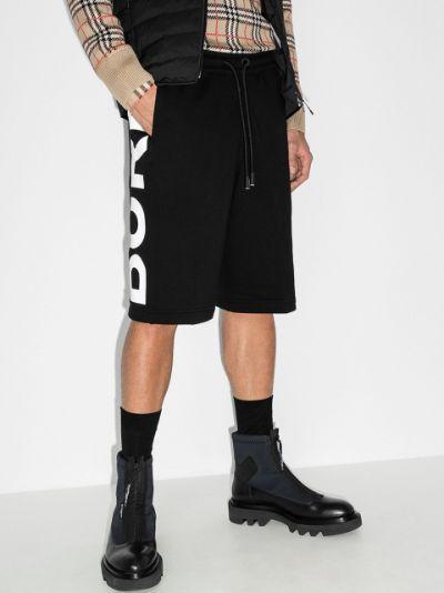 logo print cotton shorts