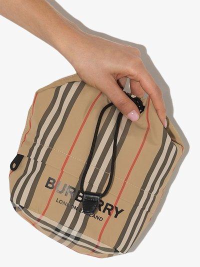 logo print Icon stripe drawcord pouch