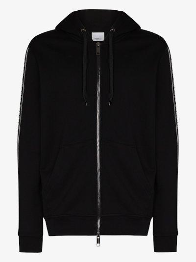 logo tape zipped hoodie