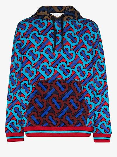 monogram print cotton hoodie