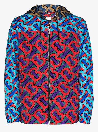 monogram print hooded jacket
