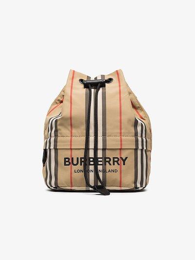 Neutral Phoebe Icon stripe mini bucket bag