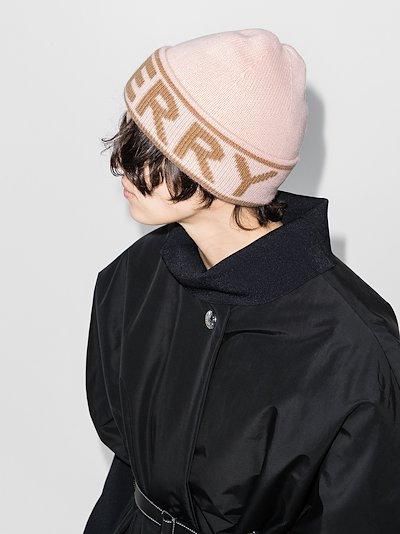 pink logo intarsia cashmere beanie hat