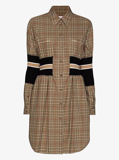 Romona rib knit panel shirt dress