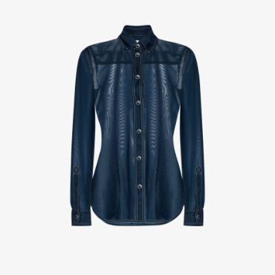 semi-sheer button-down shirt