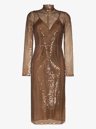 sequinned silk midi dress