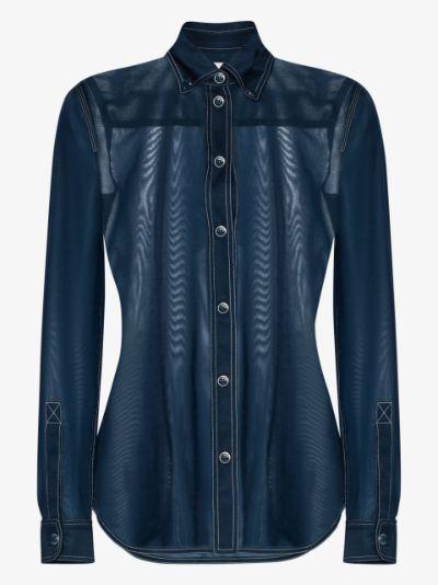 sheer button-up shirt