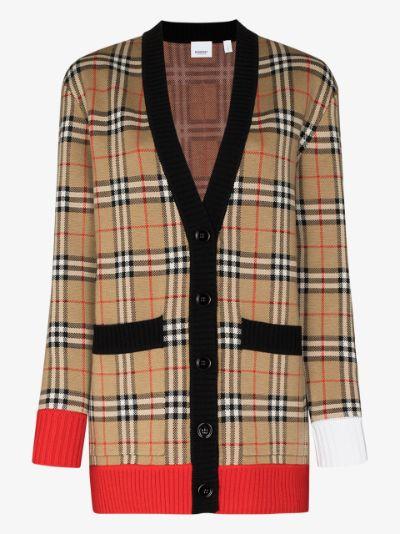 Vintage check oversized cardigan