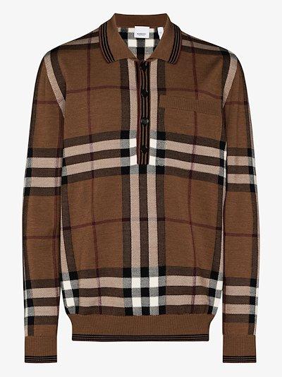 Vintage check wool polo shirt