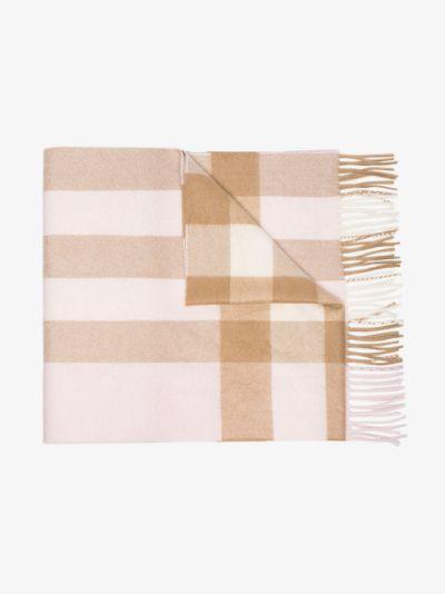 white mega check cashmere scarf